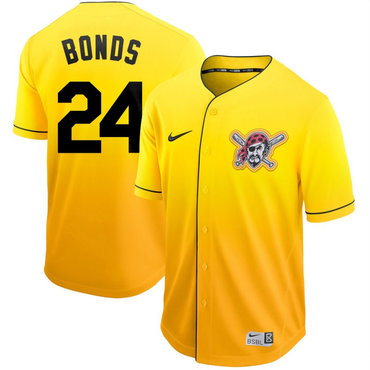 Men's Pittsburgh Pirates 24 Barry Bonds Yellow Drift Fashion Jersey