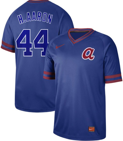 Braves #44 Hank Aaron Royal Authentic Cooperstown Collection Stitched Baseball Jersey