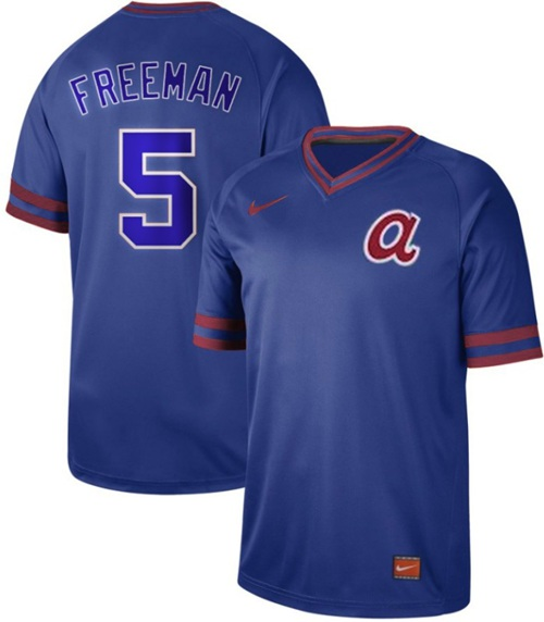 Braves #5 Freddie Freeman Royal Authentic Cooperstown Collection Stitched Baseball Jersey