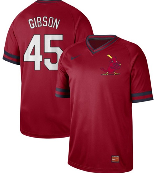 Cardinals #45 Bob Gibson Red Authentic Cooperstown Collection Stitched Baseball Jersey