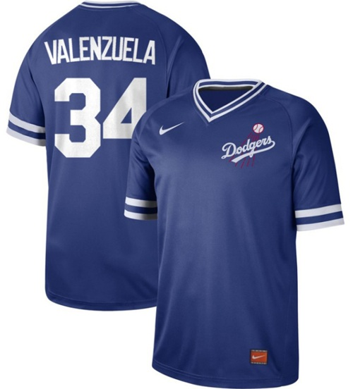 Dodgers #34 Fernando Valenzuela Royal Authentic Cooperstown Collection Stitched Baseball Jersey