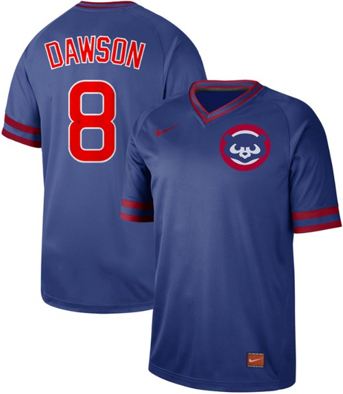 Cubs #8 Andre Dawson Royal Authentic Cooperstown Collection Stitched Baseball Jersey