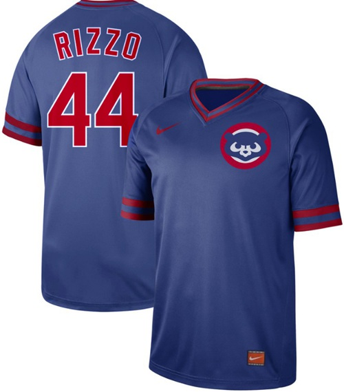 Cubs #44 Anthony Rizzo Royal Authentic Cooperstown Collection Stitched Baseball Jersey