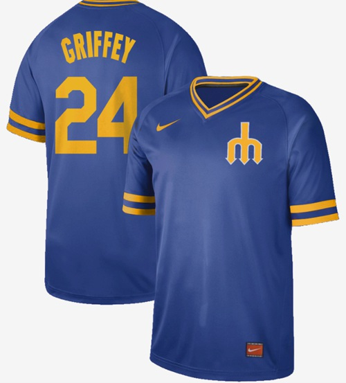Mariners #24 Ken Griffey Royal Authentic Cooperstown Collection Stitched Baseball Jersey