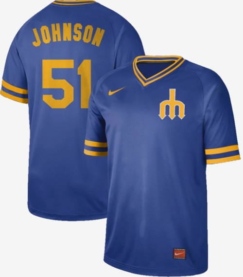 Mariners #51 Randy Johnson Royal Authentic Cooperstown Collection Stitched Baseball Jersey