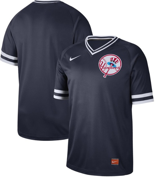 Yankees Blank Navy Authentic Cooperstown Collection Stitched Baseball Jersey