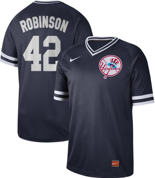 Yankees #42 Jackie Robinson Navy Authentic Cooperstown Collection Stitched Baseball Jersey