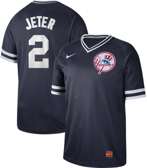 Yankees #2 Derek Jeter Navy Authentic Cooperstown Collection Stitched Baseball Jersey