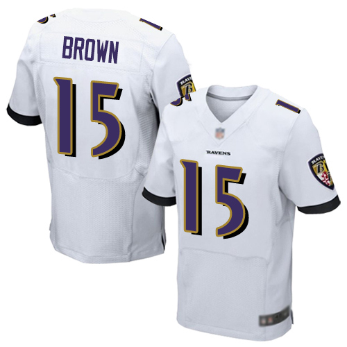 Ravens #15 Marquise Brown White Men's Stitched Football New Elite Jersey