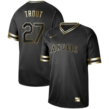 Angels of Anaheim #27 Mike Trout Black Gold Authentic Stitched Baseball Jersey