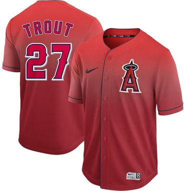 Angels of Anaheim #27 Mike Trout Red Fade Authentic Stitched Baseball Jersey