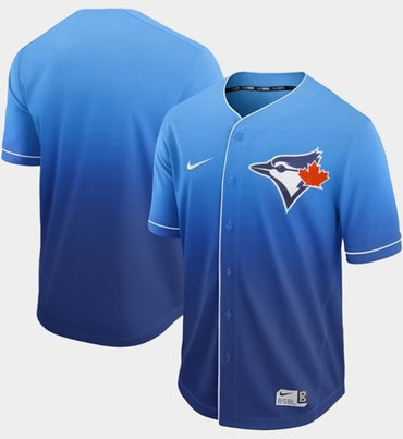 Blue Jays Blank Royal Fade Authentic Stitched Baseball Jersey