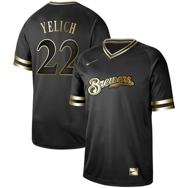 Brewers #22 Christian Yelich Black Gold Authentic Stitched Baseball Jersey