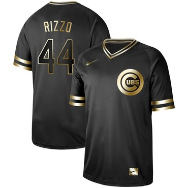 Cubs #44 Anthony Rizzo Black Gold Authentic Stitched Baseball Jersey