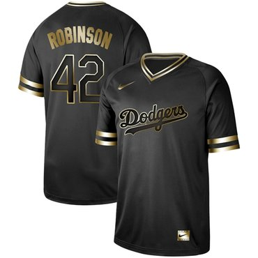 Dodgers #42 Jackie Robinson Black Gold Authentic Stitched Baseball Jersey