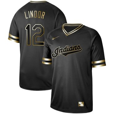 Indians #12 Francisco Lindor Black Gold Authentic Stitched Baseball Jersey