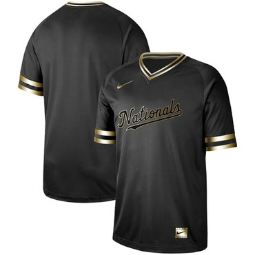 Nationals Blank Black Gold Authentic Stitched Baseball Jersey