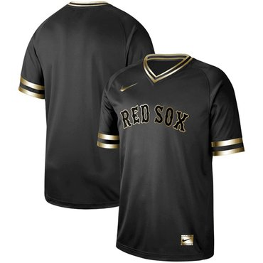 Red Sox Blank Black Gold Authentic Stitched Baseball Jersey