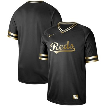 Reds Blank Black Gold Authentic Stitched Baseball Jersey