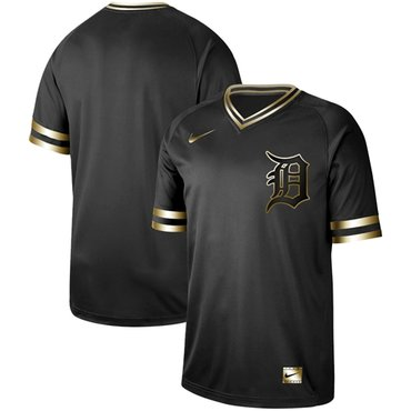Tigers Blank Black Gold Authentic Stitched Baseball Jersey