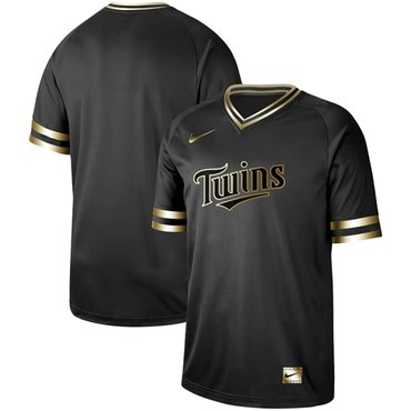 Twins Blank Black Gold Authentic Stitched Baseball Jersey