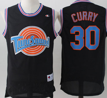 Tune Squad 30 Stephen Curry Black Stitched Movie Mesh Basketball Jersey