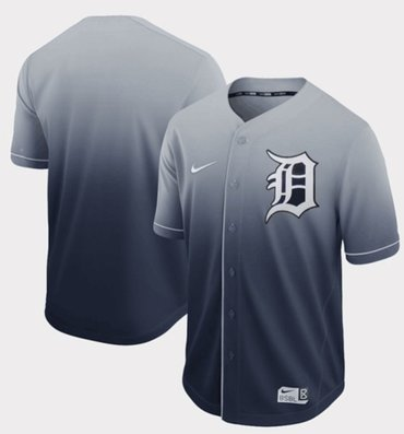 Tigers Blank Navy Fade Authentic Stitched Baseball Jersey