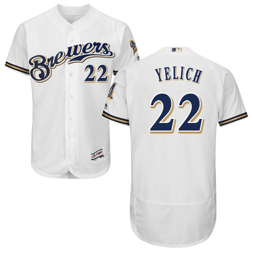 Brewers #22 Christian Yelich White Flexbase Authentic Collection Stitched Baseball Jersey