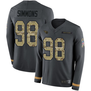Titans #98 Jeffery Simmons Anthracite Salute to Service Youth Stitched Football Limited Therma Long Sleeve Jersey
