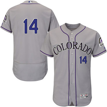 Rockies #14 Tony Wolters Grey Flexbase Authentic Collection Stitched Baseball Jersey