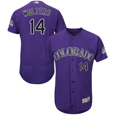Rockies #14 Tony Wolters Purple Flexbase Authentic Collection Stitched Baseball Jersey