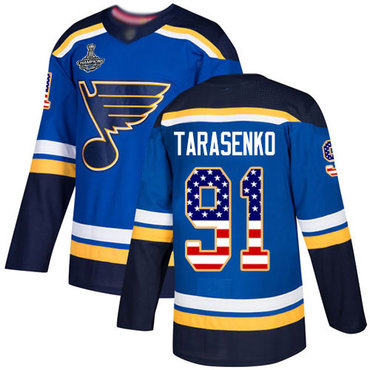 Blues #91 Vladimir Tarasenko Blue Home Authentic USA Flag Stanley Cup Champions Stitched Hockey Jersey