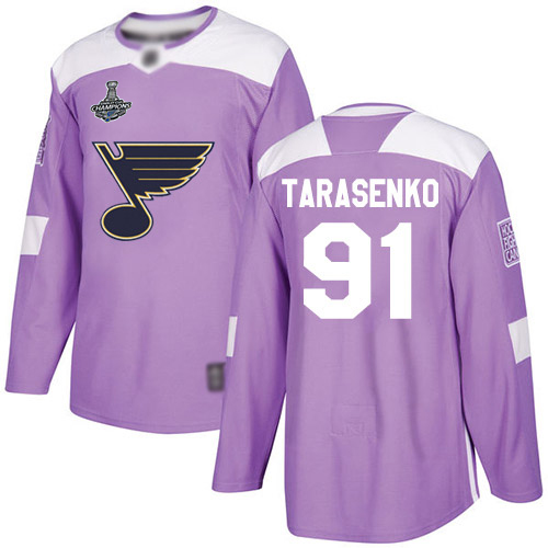 Blues #91 Vladimir Tarasenko Purple Authentic Fights Cancer Stanley Cup Champions Stitched Hockey Jersey