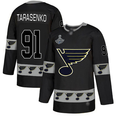Blues #91 Vladimir Tarasenko Black Authentic Team Logo Fashion Stanley Cup Champions Stitched Hockey Jersey