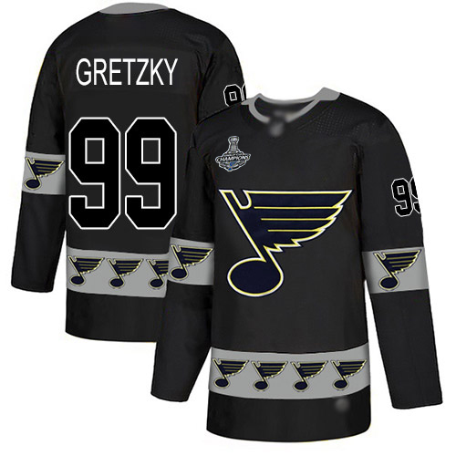 Blues #99 Wayne Gretzky Black Authentic Team Logo Fashion Stanley Cup Champions Stitched Hockey Jersey