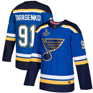 Blues #91 Vladimir Tarasenko Blue Home Authentic Stanley Cup Champions Stitched Hockey Jersey