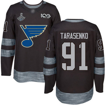 Blues #91 Vladimir Tarasenko Black 1917-2017 100th Anniversary Stanley Cup Champions Stitched Hockey Jersey