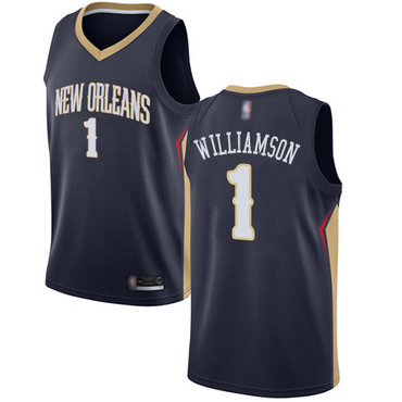 Youth Pelicans #1 Zion Williamson Navy Basketball Swingman Icon Edition Jersey