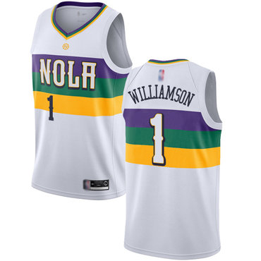 Youth Pelicans #1 Zion Williamson White Basketball Swingman City Edition 2018-19 Jersey