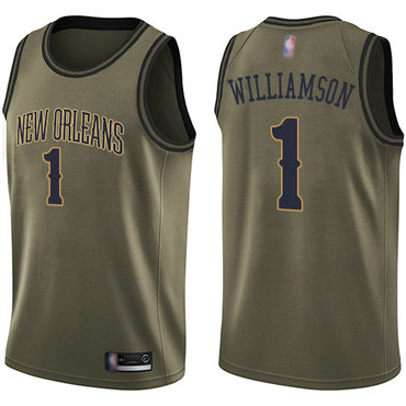 Youth Pelicans #1 Zion Williamson Green Salute to Service Basketball Swingman Jersey
