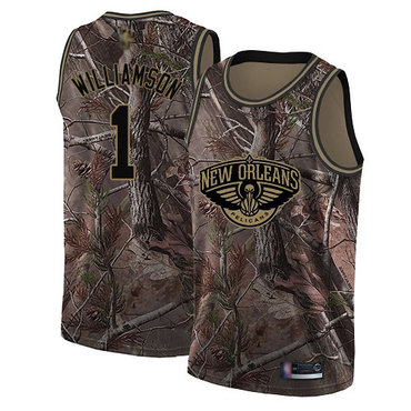 Youth Pelicans #1 Zion Williamson Camo Basketball Swingman Realtree Collection Jersey