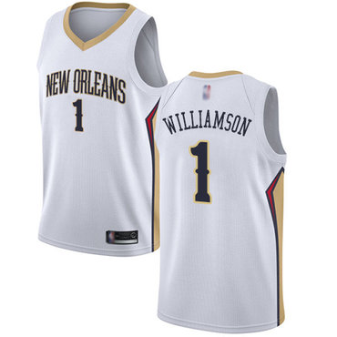 Youth Pelicans #1 Zion Williamson White Basketball Swingman Association Edition Jersey