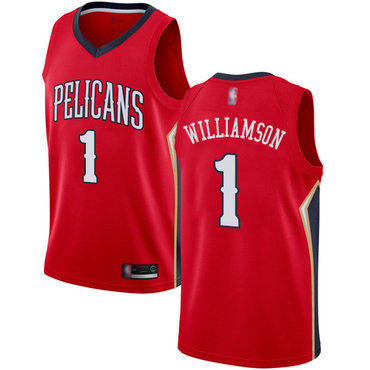 Youth Pelicans #1 Zion Williamson Red Basketball Swingman Statement Edition Jersey