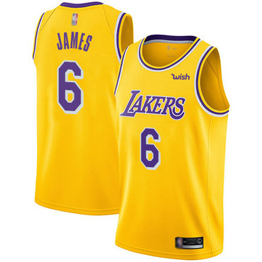 Youth Lakers #6 LeBron James Gold Basketball Swingman Icon Edition Jersey