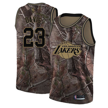 Youth Lakers #23 Anthony Davis Camo Basketball Swingman Realtree Collection Jersey