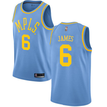 Youth Lakers #6 LeBron James Royal Blue Basketball Swingman Hardwood Classics Jersey