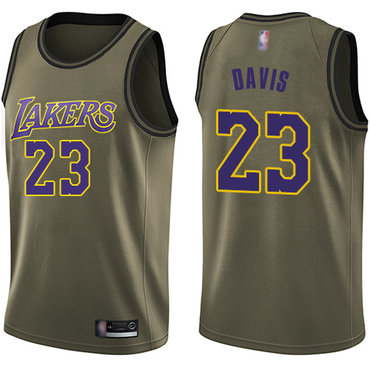 Youth Lakers #23 Anthony Davis Green Basketball Swingman Salute to Service Jersey