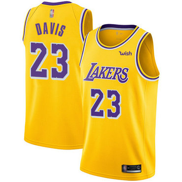 Youth Lakers #23 Anthony Davis Gold Basketball Swingman Icon Edition Jersey