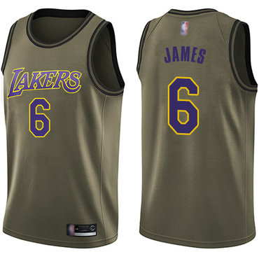 Youth Lakers #6 LeBron James Green Basketball Swingman Salute to Service Jersey
