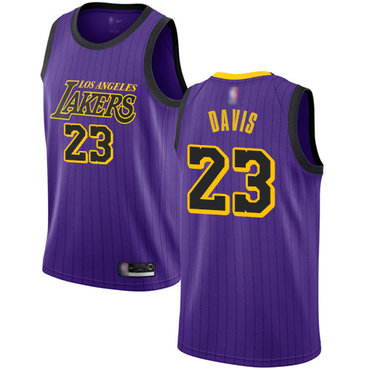 Youth Lakers #23 Anthony Davis Purple Basketball Swingman City Edition 2018-19 Jersey